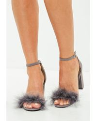 Missguided | Grey Feather Mid Block Heeled Sandals | Lyst