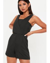 99b23100bb Missguided Andreia Lace Plunge Playsuit In Black in Black - Lyst