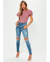 Missguided - Pink Flared Sleeve Lace Up Back Bodysuit - Lyst