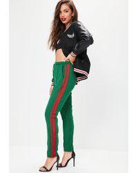 Missguided - Green Stripe Side Cuffed Joggers - Lyst