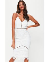 Missguided - White Lace Ladder Detail Midi Dress - Lyst