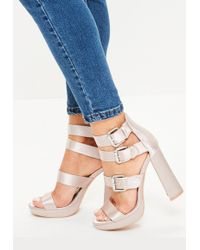 3a3d20dcfe6 Missguided - Pink Multi Buckle Satin Platform Sandals - Lyst