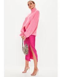 Missguided Petite Pink Satin Slip Midi Skirt