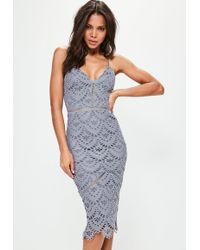 Missguided - Blue Lace Ladder Detail Midi Dress - Lyst