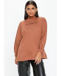 Missguided - Rust New York City Slogan Funnel Neck Sweatshirt - Lyst