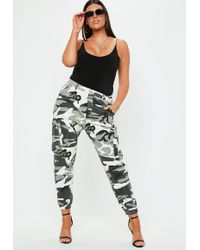 Missguided - Curve Gray Camo Printed Combat Pants - Lyst
