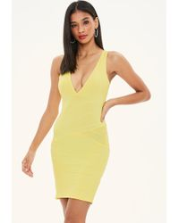 Missguided - Yellow Bandage Sleeveless Plunge Midi Dress - Lyst