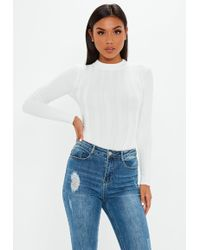 Missguided - Cream Extreme Ribbed Crew Neck Bodysuit - Lyst