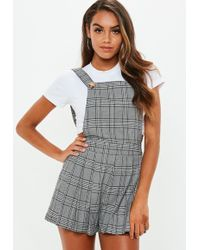 7e084cfff6 Missguided - Grey Check Pinafore Playsuit - Lyst