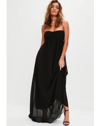 Missguided Crepe Split Side Maxi T-shirt Dress Black in Black   Lyst