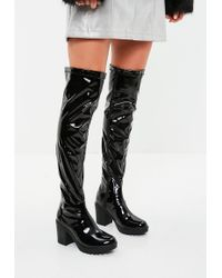 Missguided - Black Cleated Sole Vinyl Over The Knee Boots - Lyst