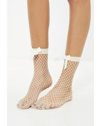 Missguided - Nude Bow Fishnet Socks - Lyst
