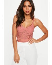 Missguided - Pink Sport Tape Corded Lace Bodysuit - Lyst