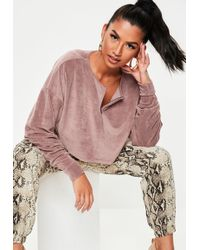Missguided - Blush Fluffy Velour Cropped Sweatshirt - Lyst