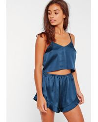 Missguided | Blue Cropped Cami Pajama Set | Lyst