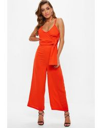 79c779f92a2 Asos Jumpsuit With Tie Side In Stripe in Gray - Lyst