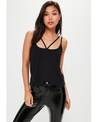 Missguided - Black Harness Strap Vest Top - Lyst