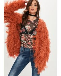Missguided | Orange Shaggy Knitted Longline Cardigan | Lyst