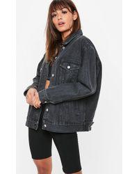 Missguided - Washed Black Oversized Denim Jacket - Lyst
