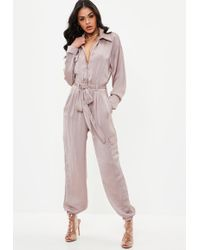 Missguided - Pink Utility Satin Jumpsuit - Lyst