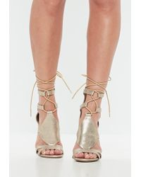 21126744a68 Lyst - Missguided Studded Heeled Gladiator Sandals Taupe in Gray