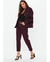 Missguided - Burgundy Denim Double Popper Mom Jean Co-ord - Lyst