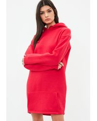 Missguided - Tall Red Hooded Sweater Dress - Lyst