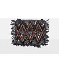 Missguided - Black Sequin Beaded Fringe Clutch Bag - Lyst
