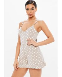 ee0272b95e0 Missguided Nude Crepe Long Sleeve Flutter Short Playsuit in Blue - Lyst