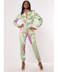Missguided - Green Paisley Print Satin Jumpsuit - Lyst
