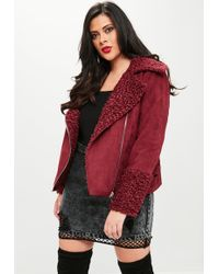 Missguided - Curve Burgundy Shearling Borg Aviator Jacket - Lyst