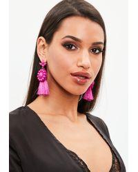 Missguided - Pink Tassel Earrings - Lyst