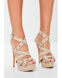 Missguided | Nude Eyelet Cross Strap Platform Sandals | Lyst