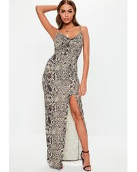 Missguided - Grey Snake Print Thigh Split Cowl Neck Maxi Dress - Lyst