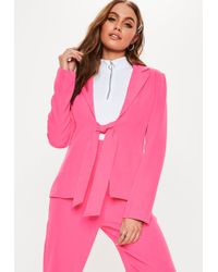 Missguided - Hot Pink Tie Front Co Ord Blazer - Lyst