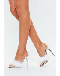 54bd180c396 Missguided - Silver Clear Feather Detail Heeled Mules - Lyst