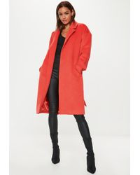 68821bc4a1c5d7 Lyst - Missguided Oversized Waterfall Duster Coat Orange in Red