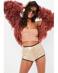 Missguided - Gold Sequin Cheeky Shorts - Lyst