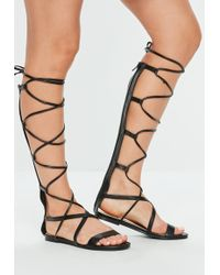 Missguided - Black High Leg Gladiator Lace Up Flat Sandal - Lyst