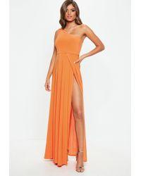 c6f6f283308 Missguided Slinky Tube Dress Orange in Orange - Lyst