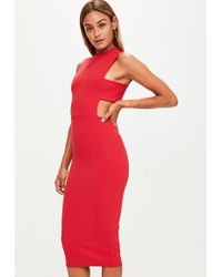 Missguided - Tall Red Tab Side Dress - Lyst
