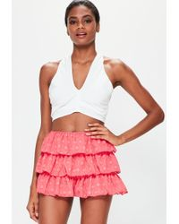 Missguided - Pink Textured Double Layer Frill Shorts - Lyst
