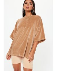 Missguided - Camel Velour Drop Shoulder Oversized Tshirt - Lyst