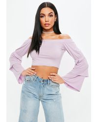Missguided - Lilac Off The Shoulder Tiered Sleeve Crop Top - Lyst