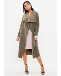 Missguided - Khaki Oversized Waterfall Duster Coat - Lyst