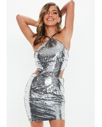 01e5b304fa Missguided - Silver Halter Neck Sequin Cut Out Dress - Lyst