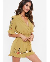 92660a0295 Lyst - Asos Collection Asos Petite Exclusive Playsuit in Cheesecloth ...