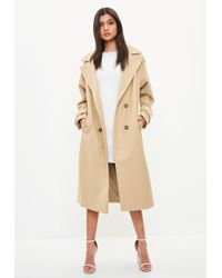 Missguided - Camel Double Breasted Faux Wool Coat - Lyst