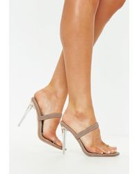 74aefd179ab Lyst - Missguided Nude Pointed Toe Clear Heeled Mules in Natural