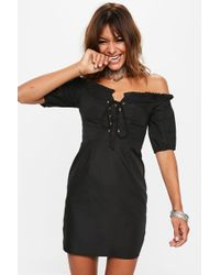 Missguided - Black Lace Up Milk Maid Dress - Lyst